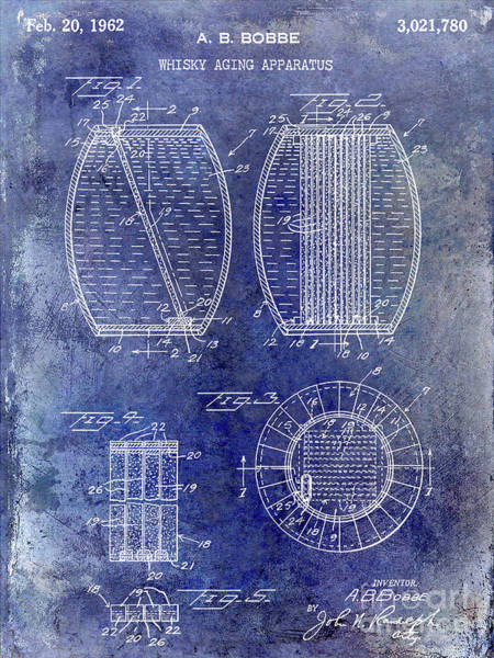 Wall Art - Photograph - 1962 Whiskey Aging Patent Blue by Jon Neidert