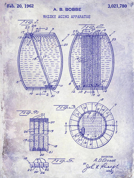 Cocktail Shaker Photograph - 1962 Whiskey Aging Patent Blueprint by Jon Neidert