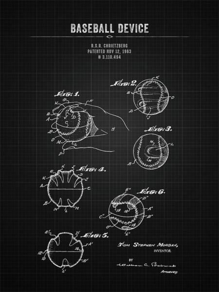 Wall Art - Digital Art - 1963 Baseball Device - Black Blueprint by Aged Pixel