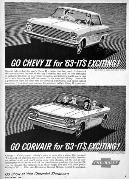 Corvair Photograph - 1963 Chevy Add by David Lee Thompson