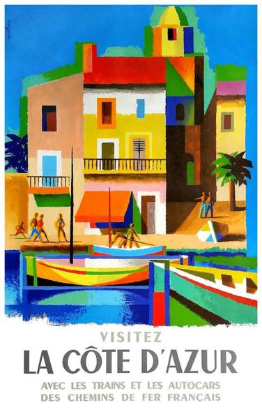 Wall Art - Digital Art - 1963 Cote D'azur French Riviera Vintage World Travel Poster by Retro Graphics