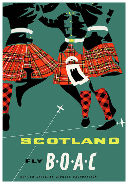 Wall Art - Digital Art - 1963 Scotland Highland Dancers Boac Vintage Travel Poster  by Retro Graphics