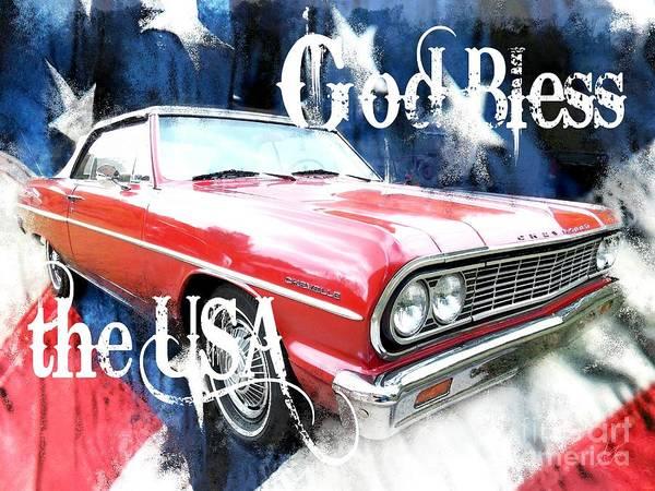 Wall Art - Digital Art - 1964 Chevrolet Malibu Convertible - God Bless The Usa by Anita Faye