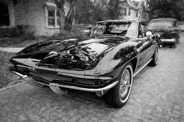 Wall Art - Photograph - 1964 Chevy Corvette Coupe Bw 104 by Rich Franco