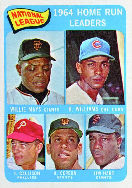 Wall Art - Photograph - 1964 N. L. Home Run Leaders Card by David Lee Thompson