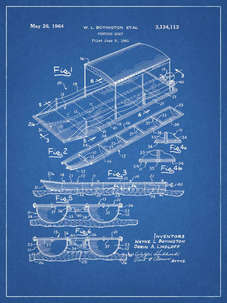 Drawing - 1964 Pontoon Patent by Dan Sproul