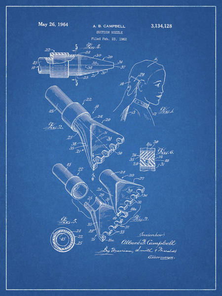 Wet Drawing - 1964 Salon Suction Patent by Dan Sproul
