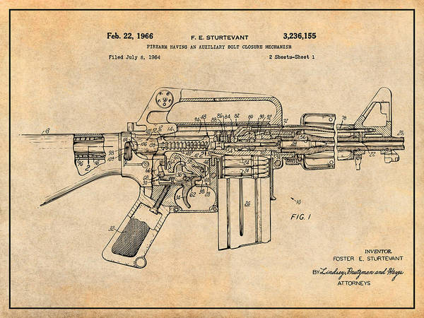 Wall Art - Drawing - 1966 Ar15 Assault Rifle Patent Print, M-16, Antique Paper by Greg Edwards