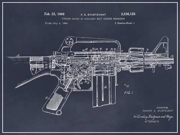 Wall Art - Drawing - 1966 Ar15 Assault Rifle Patent Print, M-16, Blackboard by Greg Edwards