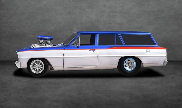 Mag Wheels Wall Art - Photograph - 1966 Chevrolet Chevy II Nova Station Wagon  -  1966chevyiistationwagongrytext196437 by Frank J Benz