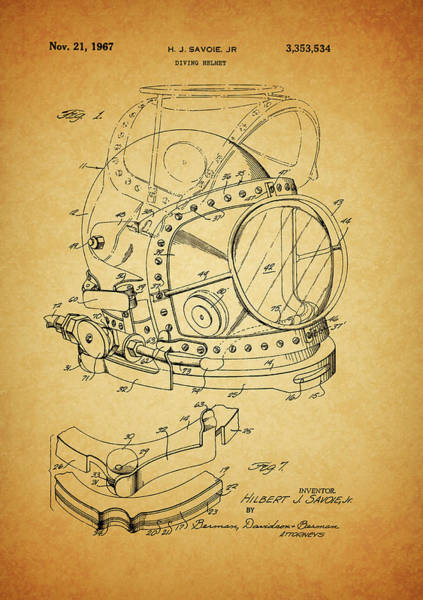 Drawing - 1967 Diving Helmet Patent by Dan Sproul