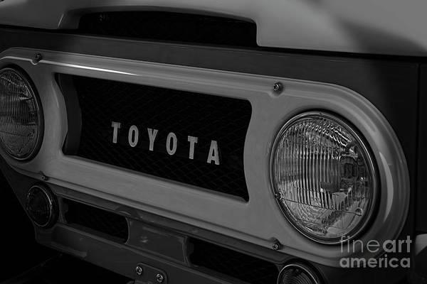 Heavy Duty Truck Wall Art - Photograph - 1967 Toyota Land Cruiser Logo Black And White by Nick Gray