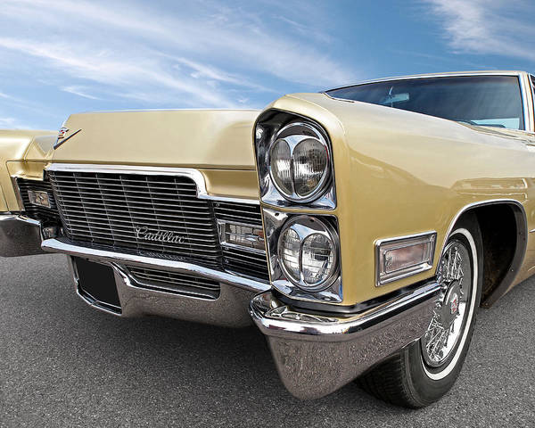 Photograph - 1968 Cadillac Coupe De Ville Headlights And Grille by Gill Billington