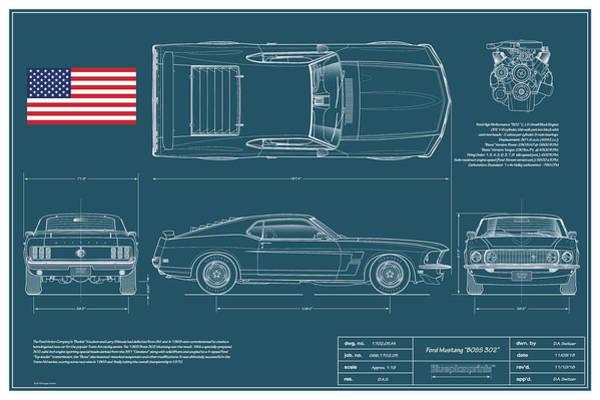 American Car Drawing - 1969 Boss 302 Blueplanprint by Douglas Switzer