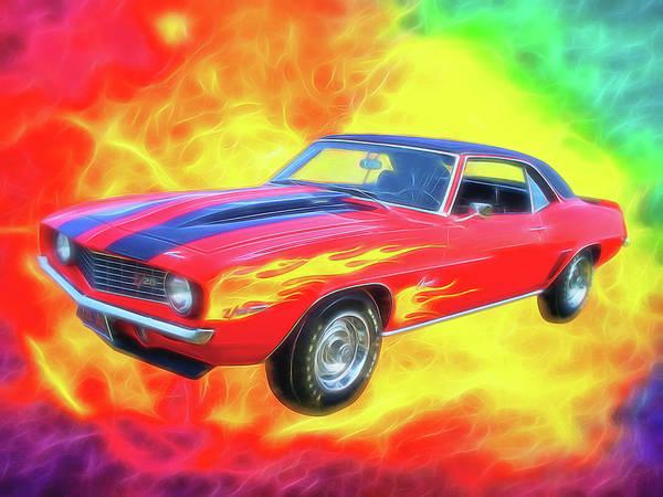 Digital Art - 1969 Flaming Z by Rick Wicker