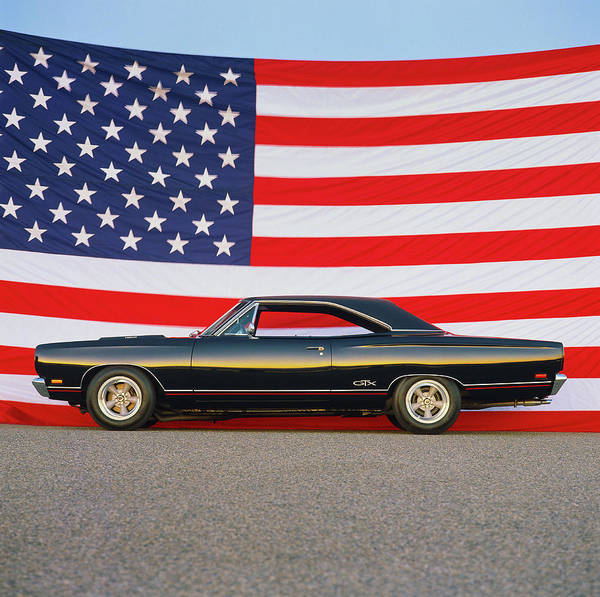 Sport Car Photograph - 1969 Plymouth Gtx Hemi With Old Glory by Car Culture