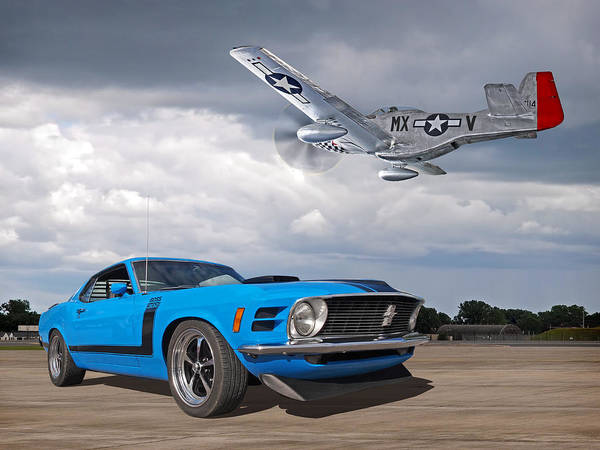 Photograph - 1970 Boss 302 Mustang With P-51 by Gill Billington