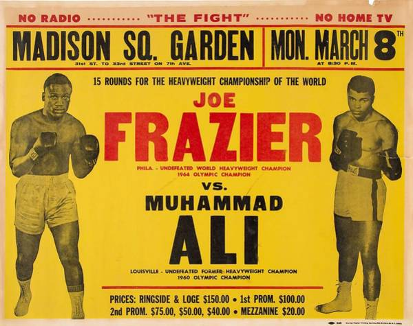 Wall Art - Painting - 1971 Muhammad Ali Vs Joe Frazier I On Site Fight Poster by Celestial Images