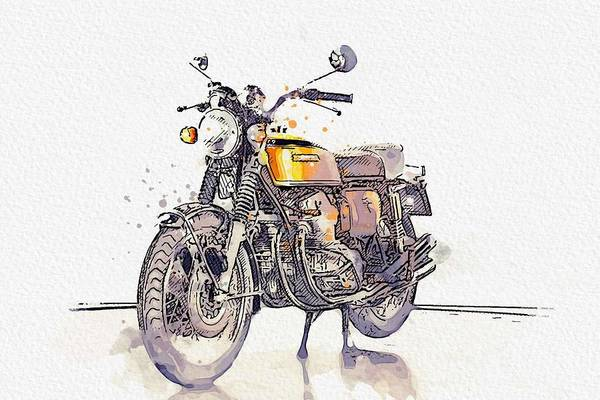 Painting - 1972 Honda Cb 750 2 Watercolor By Ahmet Asar by Ahmet Asar