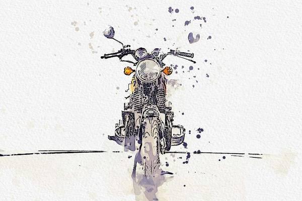 Painting - 1972 Honda Cb 750 3 Watercolor By Ahmet Asar by Ahmet Asar