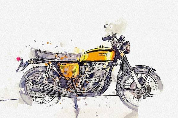Painting - 1972 Honda Cb 750 4 Watercolor By Ahmet Asar by Ahmet Asar