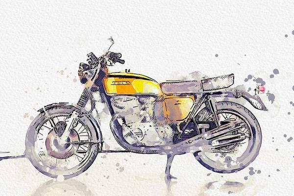 Painting - 1972 Honda Cb 750 Watercolor By Ahmet Asar by Ahmet Asar
