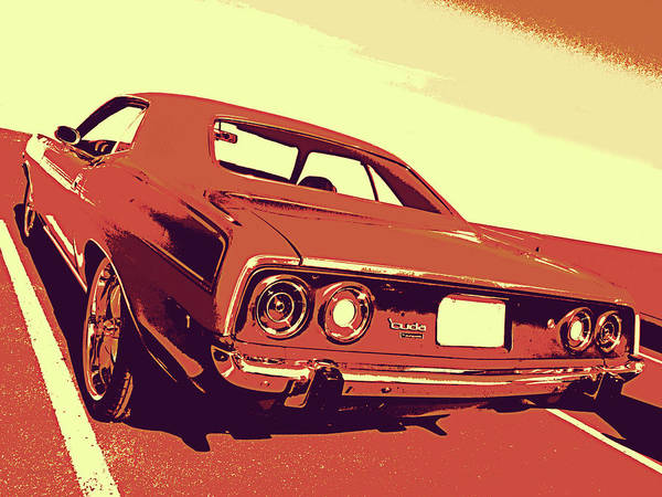 Digital Art - 1972 Plymouth Barracuda Red by David King