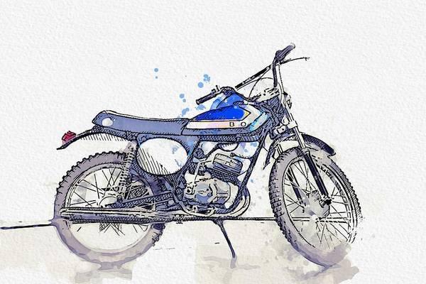 Wall Art - Painting - 1973 Aprilia Scarabeo 50 2 Watercolor By Ahmet Asar by Ahmet Asar