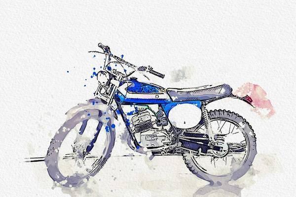 Wall Art - Painting - 1973 Aprilia Scarabeo 50 Watercolor By Ahmet Asar by Ahmet Asar