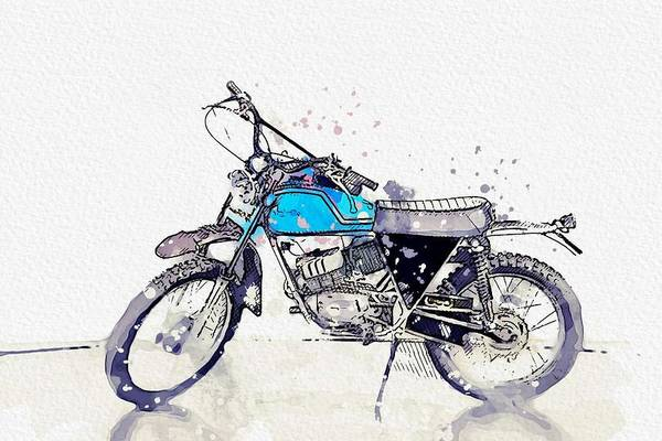 Painting - 1973 Fantic Motor Raider 125 Watercolor By Ahmet Asar by Ahmet Asar