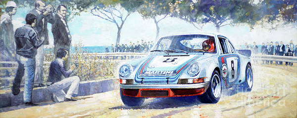 Wall Art - Painting - 1973 Targa Floria Porsche 911 Carrera Rsr Martini Racing Lennep Muller Winner  by Yuriy Shevchuk