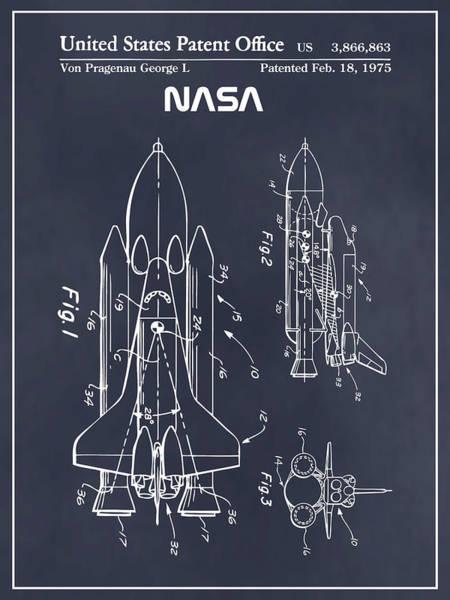 Wall Art - Drawing - 1975 Nasa Space Shuttle Patent Print Blackboard by Greg Edwards