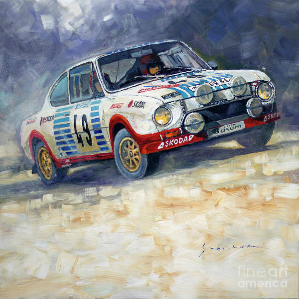Wall Art - Painting - 1977 Rallye Monte Carlo Skoda 130 Rs Blahna Hlavka Winner by Yuriy Shevchuk