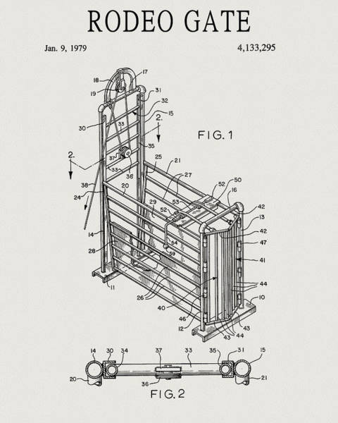 Drawing - 1979 Rodeo Gate Patent by Dan Sproul