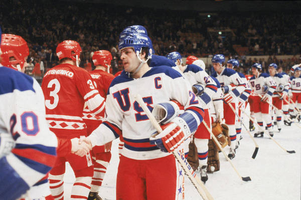 Ice Hockey Photograph - 1980 Exhibition Game Ussr V Usa by B Bennett