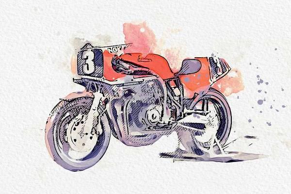Painting - 1982 Honda Motorcycles Rs 200 Watercolor By Ahmet Asar by Ahmet Asar