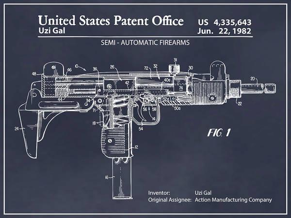 Wall Art - Drawing - 1982 Uzi Submachine Gun Blackboard Patent Print by Greg Edwards