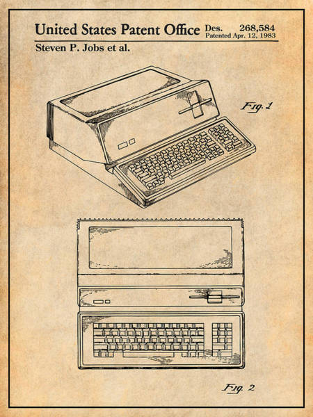Wall Art - Drawing - 1983 Steve Jobs Apple Personal Computer Antique Paper Patent Print by Greg Edwards