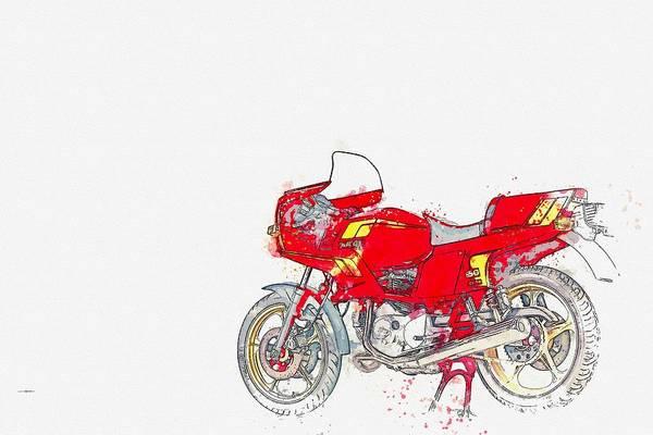 Painting - 1984 Ducati Pantah 650sl Watercolor By Ahmet Asar by Ahmet Asar