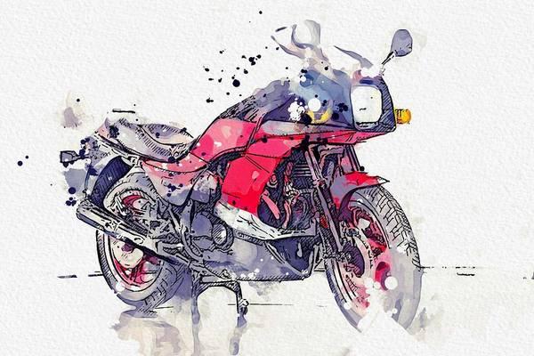 Painting - 1984 Kawasaki Gpz 750 R 3 Watercolor By Ahmet Asar by Ahmet Asar