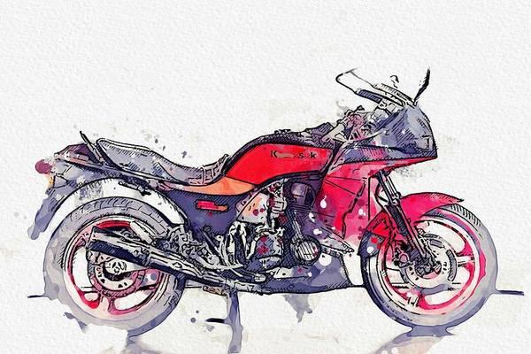 Painting - 1984 Kawasaki Gpz 750 R 4 Watercolor By Ahmet Asar by Ahmet Asar