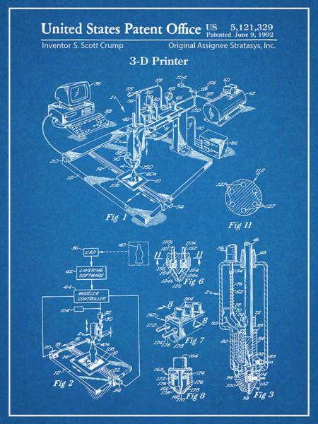 Wall Art - Drawing - 1992 3d Printer Patent Print Blueprint by Greg Edwards