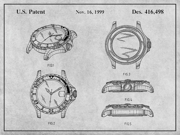 Wall Art - Drawing - 1999 Rolex Diving Watch Patent Print Gray by Greg Edwards