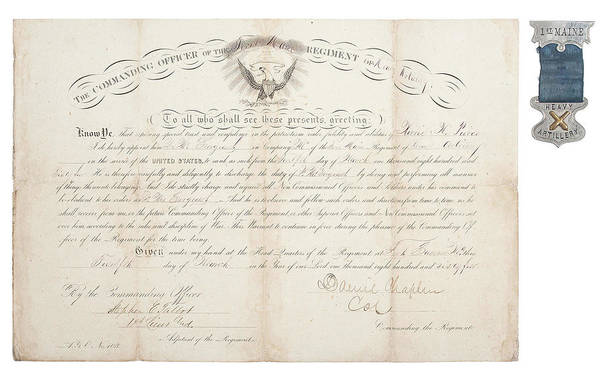 Wall Art - Painting - 1st Maine Heavy Artillery Appointment  1864  Plus by Celestial Images