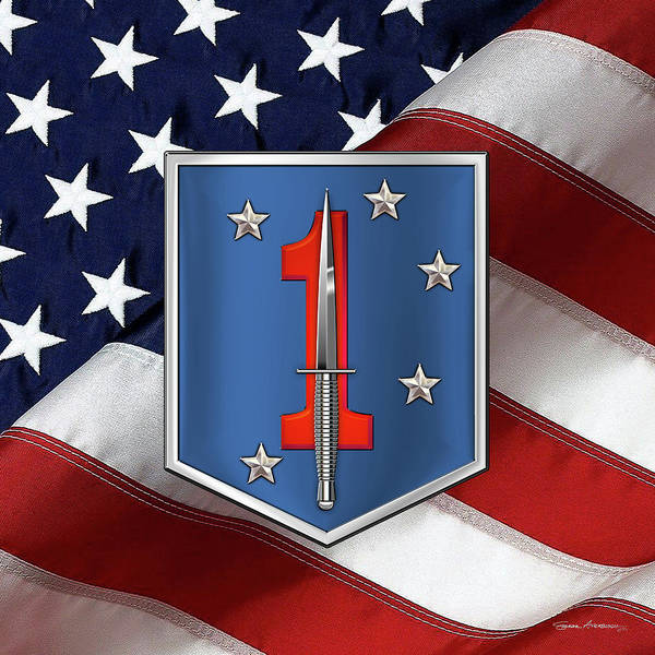 Digital Art - 1st Marine Raider Battalion - 1st Marine Special Operations Battalion M S O B  Patch Over Flag by Serge Averbukh