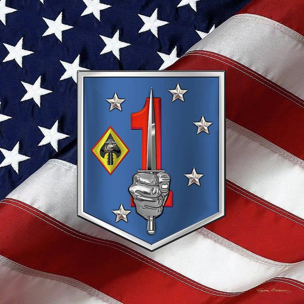 Digital Art - 1st Marine Raider Support Battalion  -  1st  M R S B  Patch Over American Flag by Serge Averbukh