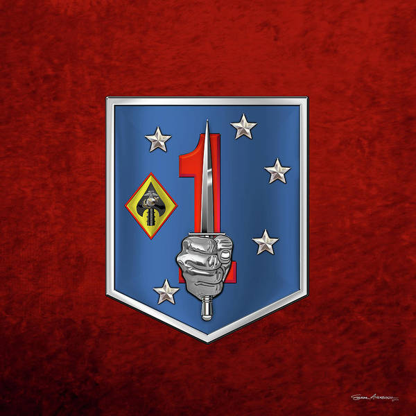 Digital Art - 1st Marine Raider Support Battalion  -  1st  M R S B  Patch Over Red Velvet by Serge Averbukh