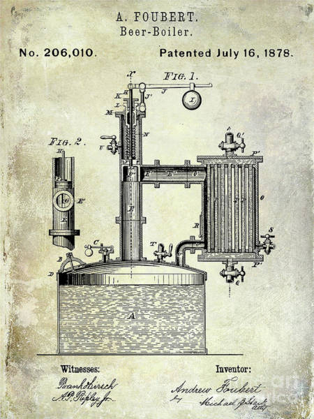 Wall Art - Photograph - 1878 Beer Boiler Patent  by Jon Neidert