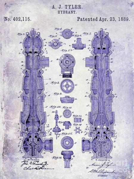 Wall Art - Photograph - 1889 Fire Hydrant Patent Blueprint by Jon Neidert