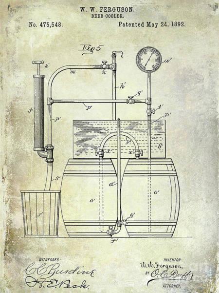 Wall Art - Photograph - 1892 Beer Cooler Patent Blueprint by Jon Neidert